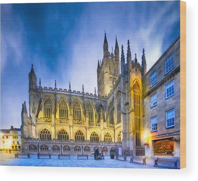 Bath Abbey Wood Print featuring the photograph Soaring Perpendicular Gothic Architecture Of Bath Abbey by Mark E Tisdale