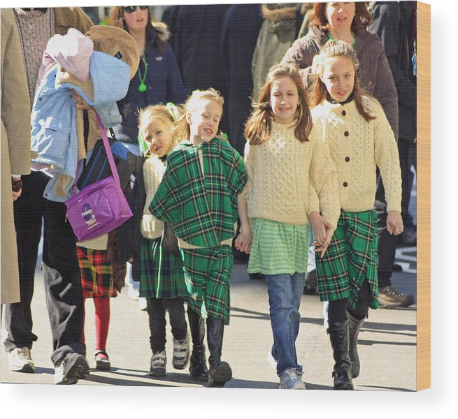 People Wood Print featuring the photograph Some Sisters Enjoying Themselves At The 2009 New York St. Patrick Day Parade by James Connor