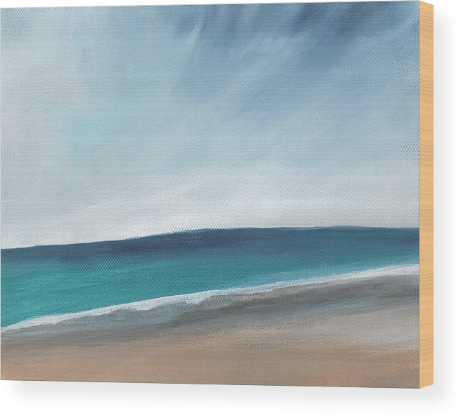 Beach Wood Print featuring the painting Spring Beach- Contemporary Abstract Landscape by Linda Woods