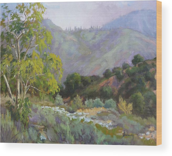 Landscape Wood Print featuring the painting Spring Sycamore by Sharon Weaver