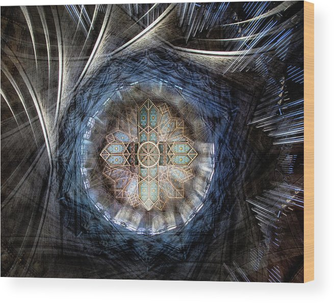 Cross Wood Print featuring the photograph St Davids Cathedral Roof by Simon Pearce