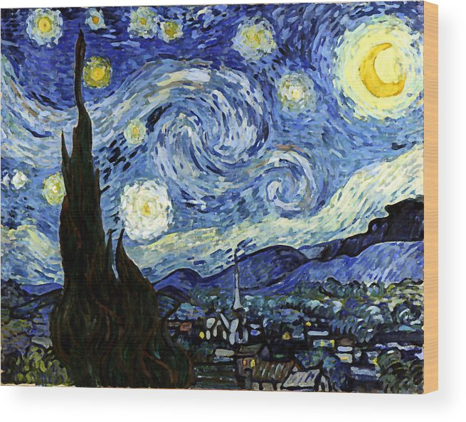 Starry Night Reproduction Art Work Wood Print by Vincent van Gogh