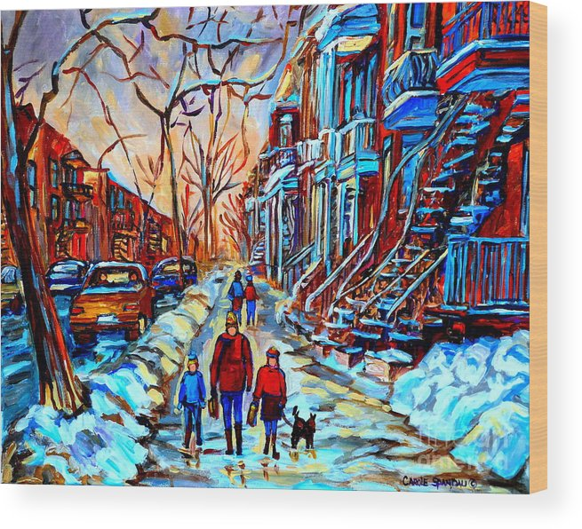 Montreal Wood Print featuring the painting Streets Of Montreal by Carole Spandau