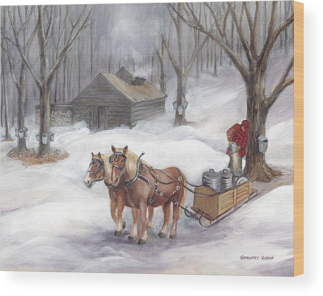 Maple Sugaring Wood Print featuring the painting Sugaring Time Again by Gregory Karas