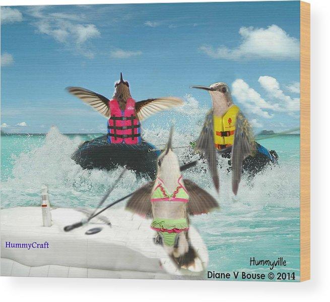 Art Wood Print featuring the digital art Summer Hummer by Diane V Bouse