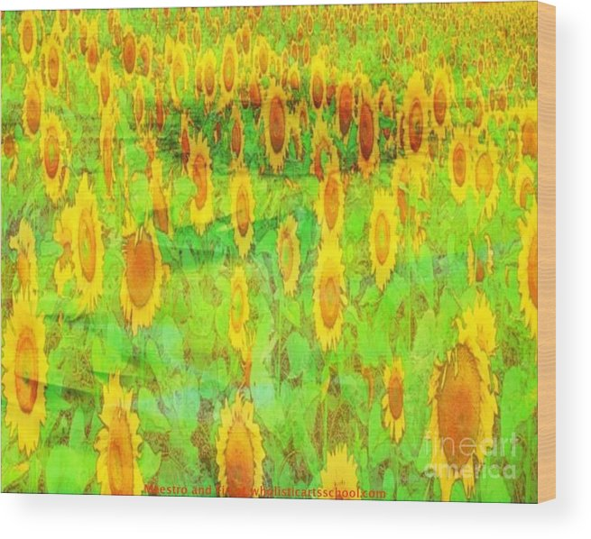Sunflower Wood Print featuring the painting Sunflower Majic by PainterArtist FIN