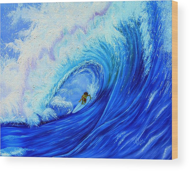Surf Wood Print featuring the painting Surfing The Wild Wave by Kathern Welsh