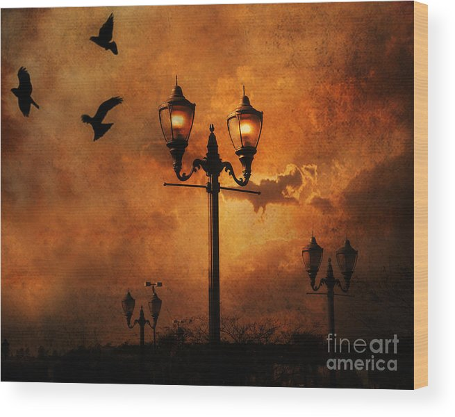 Raven Crow Art Wood Print featuring the photograph Surreal Fantasy Gothic Night Lanterns Ravens by Kathy Fornal