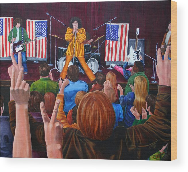 Mc5 Concert Grande Band Stage Concert Detroit 1968 Wood Print featuring the painting Testimonial by Cecil Williams