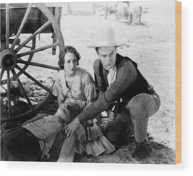 1930s Movies Wood Print featuring the photograph The Big Stampede, Kneeling, From Left by Everett