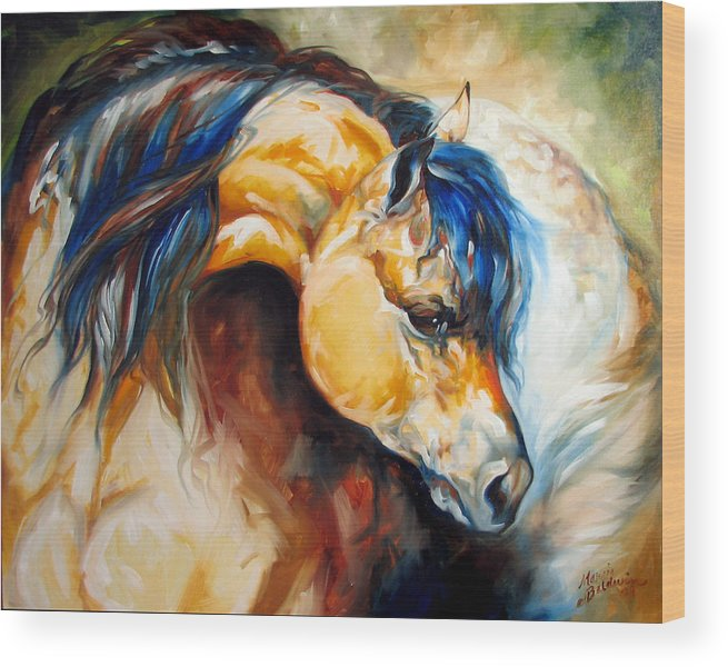 Horse Wood Print featuring the painting The Buckskin by Marcia Baldwin
