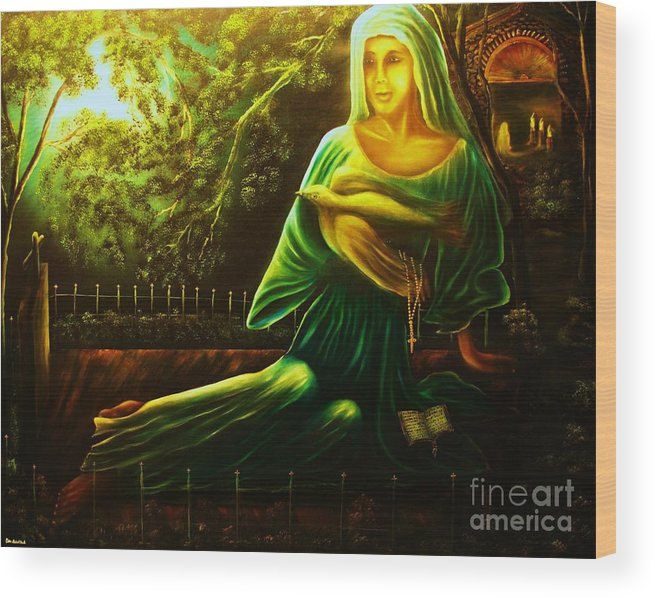 Landscape Wood Print featuring the painting The Death Of Ruth- Private Art Collection-buy Giclee Print Nr 33 Of Limited Edition Of 40 Prints by Eddie Michael Beck