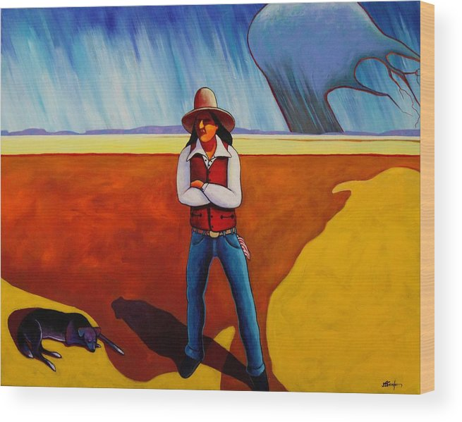 Native American Wood Print featuring the painting The Logic Of Solitude by Joe Triano