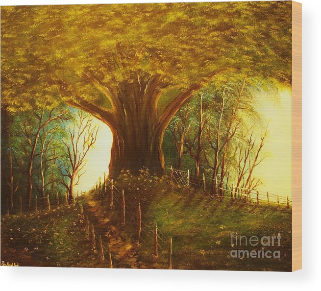 Oak. Tree.park Wood Print featuring the painting The Oak Tree-original Sold-buy Giclee Print Nr 31 Of Limited Edition Of 40 Prints by Eddie Michael Beck
