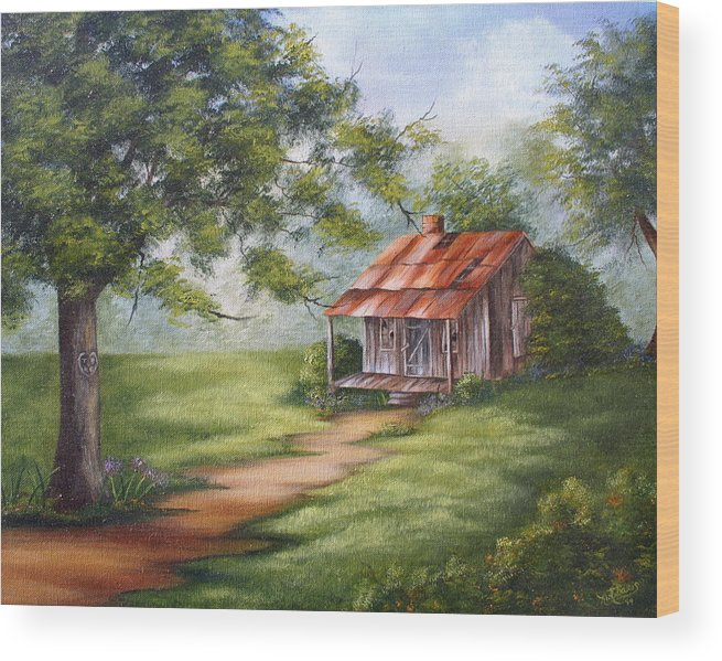 Oil Wood Print featuring the painting The Old Homestead by Ruth Bares