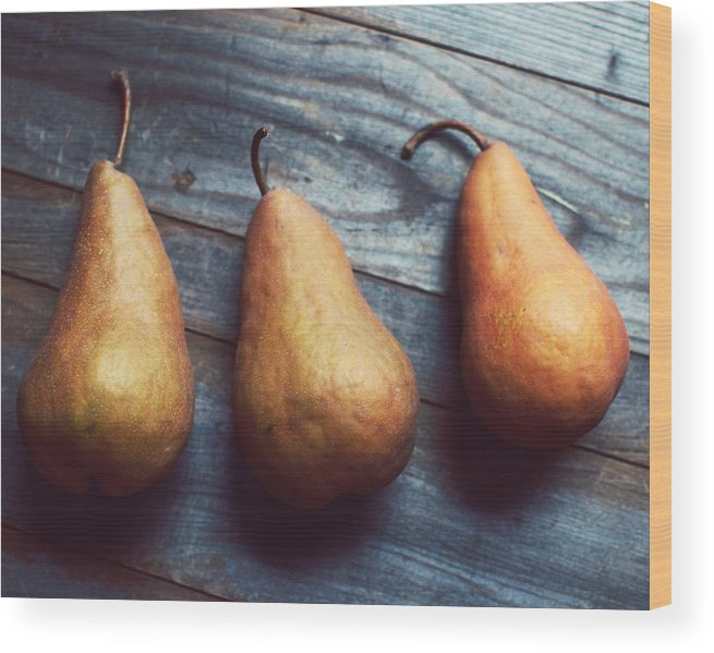 Food Photograph Wood Print featuring the photograph Three Gold Pears by Lupen Grainne