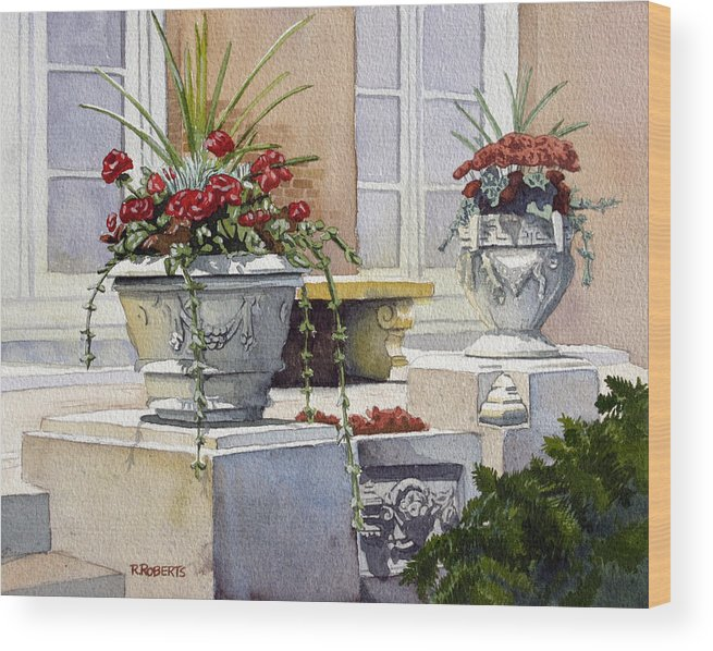 Trinity Church Wood Print featuring the painting Trinity Geraniums by Robin Roberts