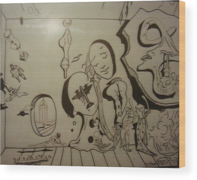 Wood Print featuring the drawing Untitled by Jude Darrien