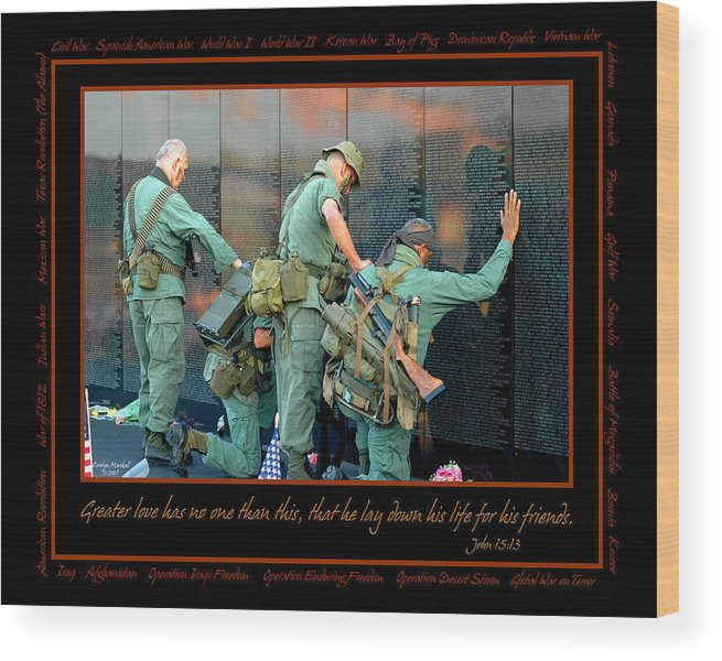 Veterans Wood Print featuring the photograph Veterans At Vietnam Wall by Carolyn Marshall