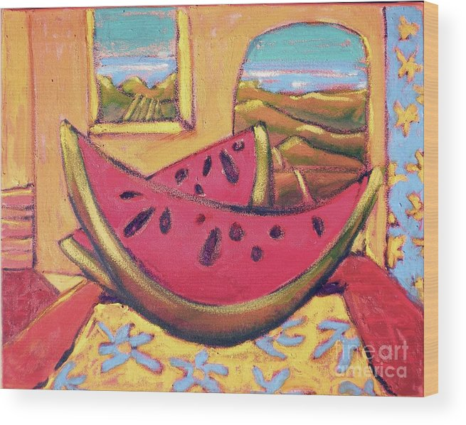 Fruit Wood Print featuring the painting Watermelon For Two by Diane STEVENETT