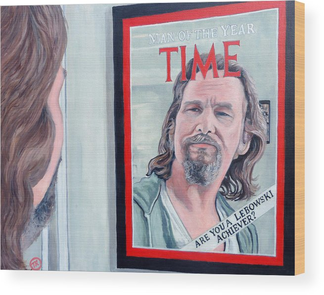 The Dude Wood Print featuring the painting Who Is This Guy by Tom Roderick