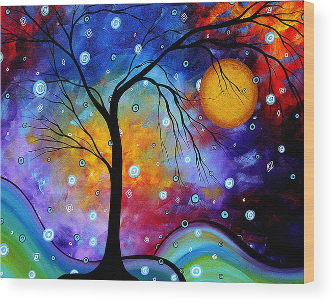 Abstract Wood Print featuring the painting Winter Sparkle Original Madart Painting by Megan Duncanson