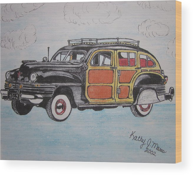 Woodie Wood Print featuring the painting Woodie Station Wagon by Kathy Marrs Chandler