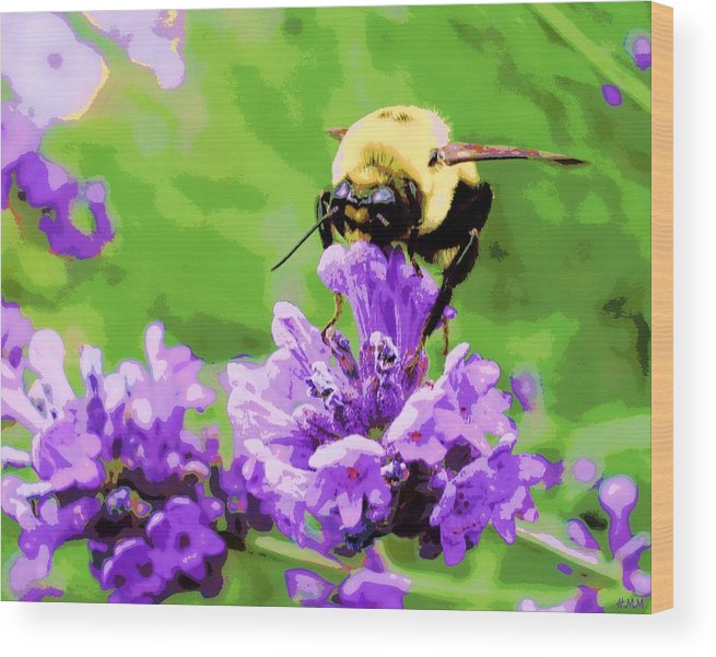 Lavender Wood Print featuring the photograph Yellow Enjoying Lavender by Heidi Manly