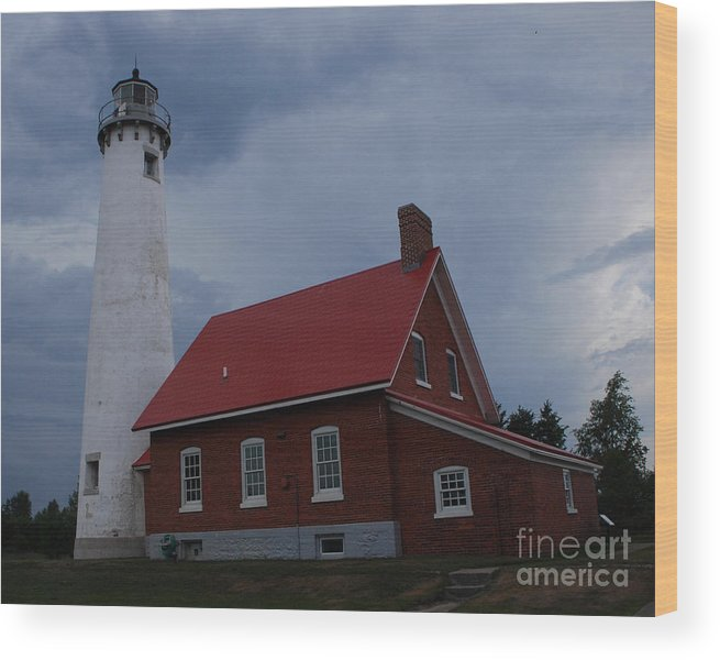 Lighthouse Wood Print featuring the photograph Tawas Point Lighthouse by Grace Grogan