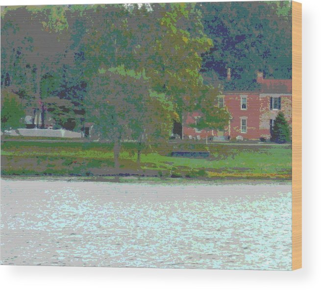 River Wood Print featuring the photograph Augusta River Front Row Houses by Jennifer Kelly