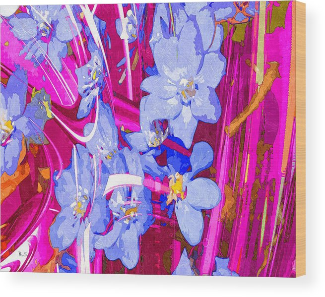 Modern Wood Print featuring the digital art Blue Flowers by Brian Sunderland