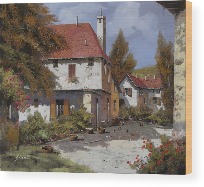Landscape Wood Print featuring the painting Borgogna by Guido Borelli