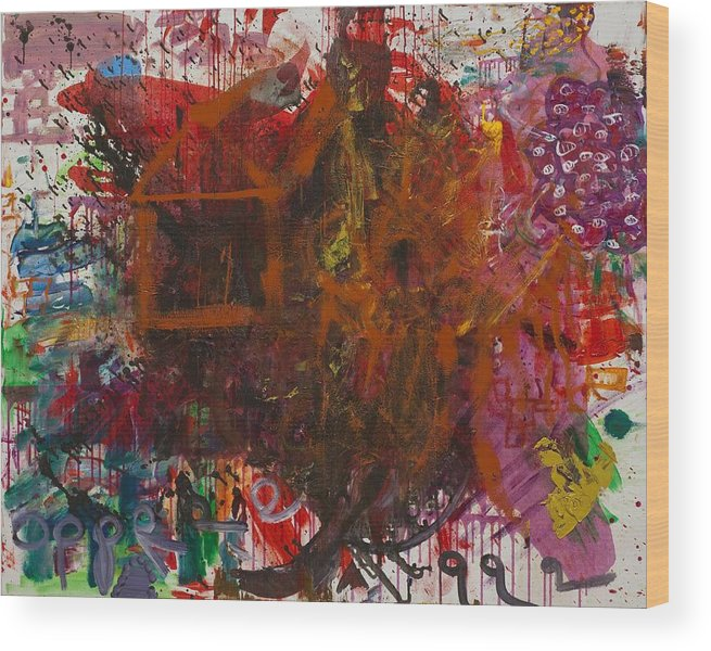 Abstract Wood Print featuring the painting Box by Gisele Aliyah