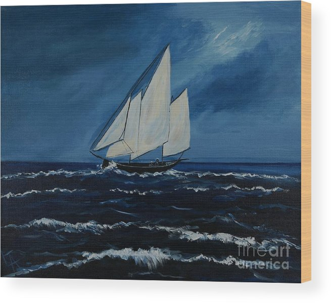 Sailboat Wood Print featuring the painting Catching The Wind by Leslie Allen