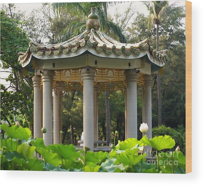 Pavilion Wood Print featuring the photograph Chinese Pavilion In A Lotus Flower Garden by Yali Shi
