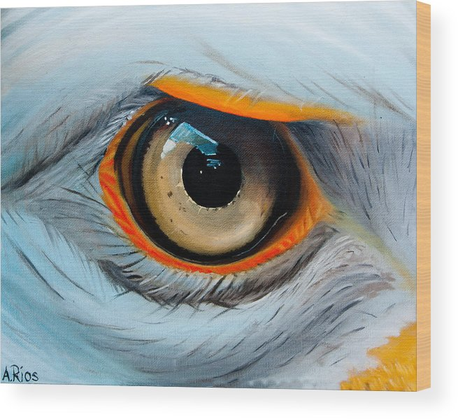 Eagle Eye Wood Print Featuring The Painting Eagle Eye By Alex Rios