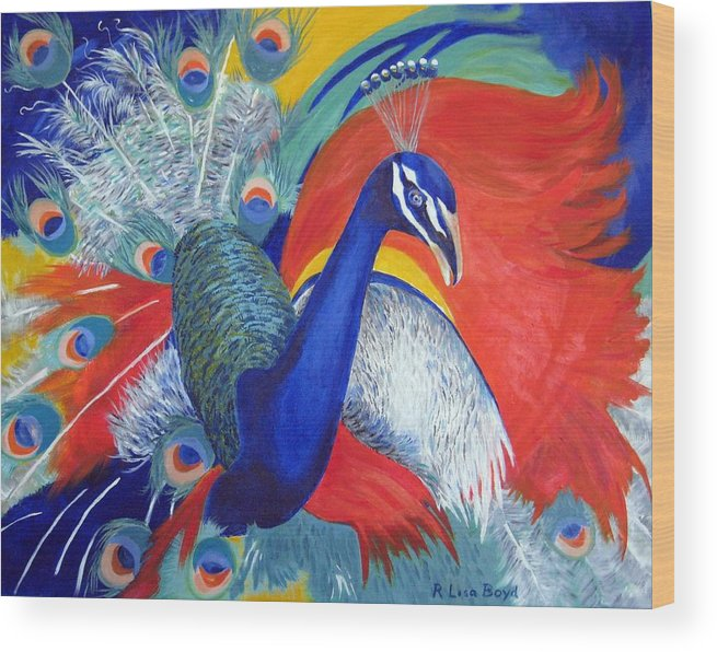 Bird Wood Print featuring the painting Flamboyant Peacock by Lisa Boyd
