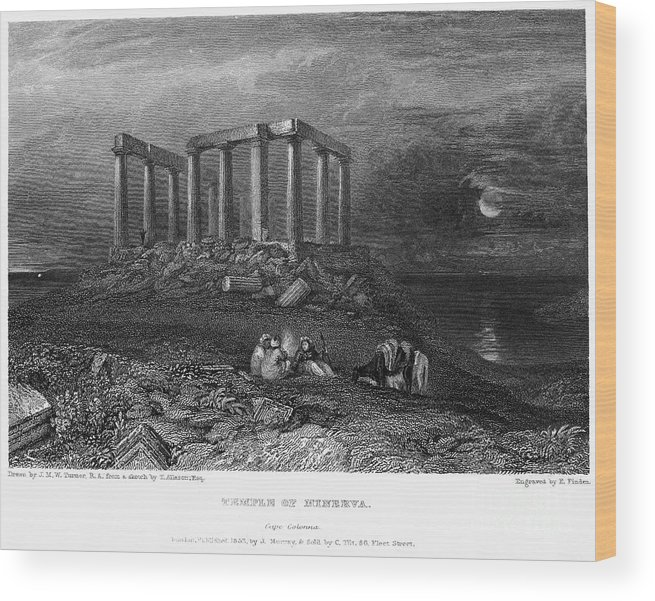 1832 Wood Print featuring the photograph Greece: Cape Sounion, 1832 by Granger