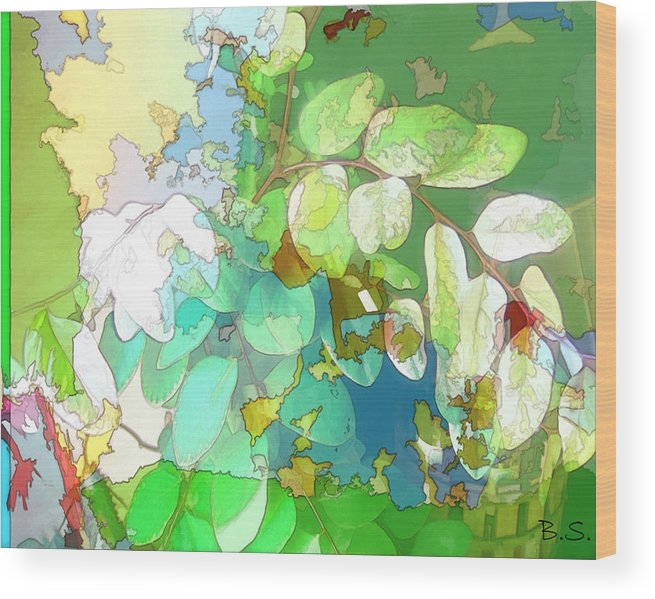 Nature Wood Print featuring the digital art Leaves Of Green by Brian Sunderland