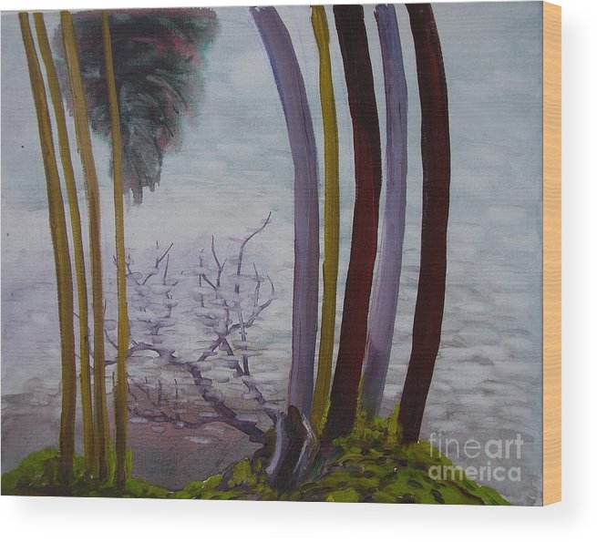 Landscape Wood Print featuring the painting Lines In Nature by Nelson Dale