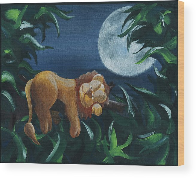 Lion Wood Print featuring the painting Lion Sleeps Tonight by Miranda Mehrer