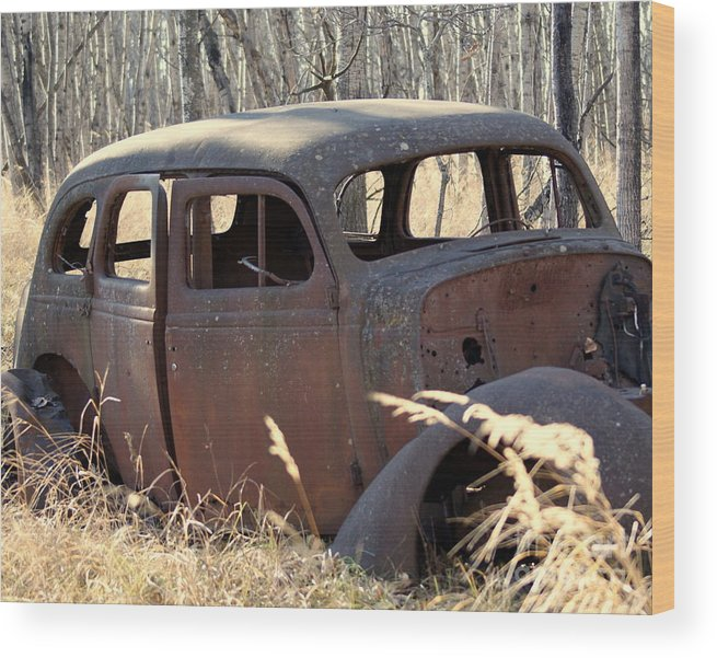 Car Wood Print featuring the photograph Long Forgotten by Jack Brown