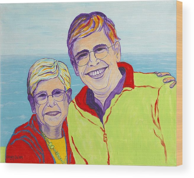 Love Wood Print featuring the painting Love Between A Mother And Son by Peggy Quinn