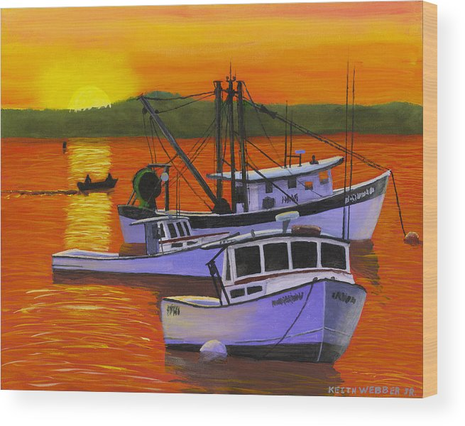Maine Wood Print featuring the painting Maine Fishing Boats At Sunset Port Clyde Painting by Keith Webber Jr
