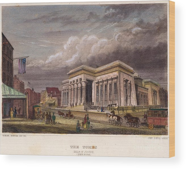 1850 Wood Print featuring the photograph Nyc: The Tombs, 1850 by Granger