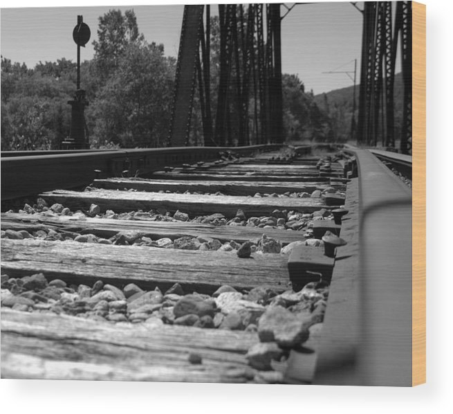 Railroad Wood Print featuring the photograph On The Rails by Kathy Kenney