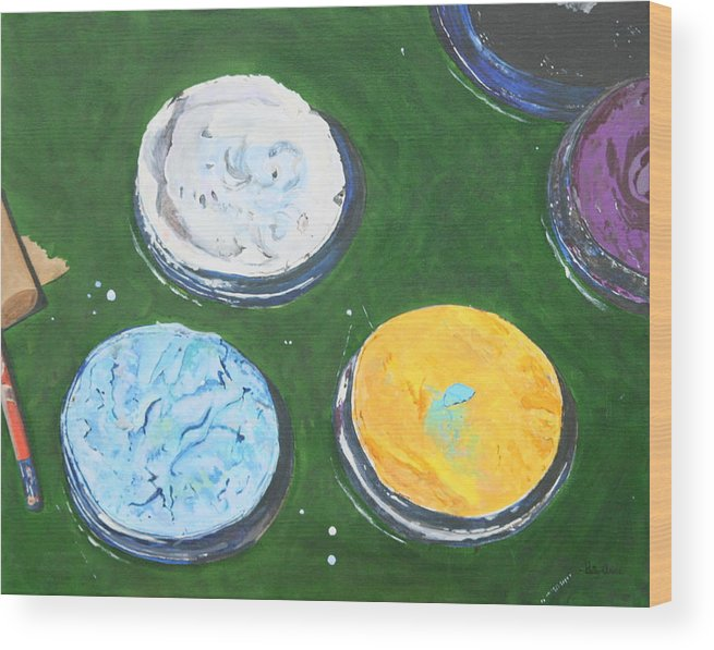 Fun Wood Print featuring the painting Pots Of Paint by Betty-Anne McDonald