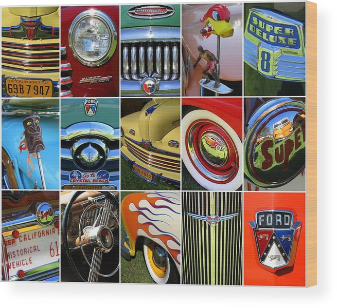 Automobiles Wood Print featuring the photograph Woodie Car Collage by Linda Larson