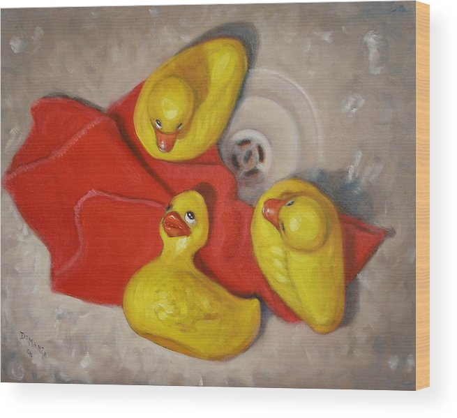 Realism Wood Print featuring the painting Three Rubber Ducks #1 by Donelli DiMaria