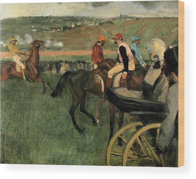 Edgar Degas Wood Print featuring the painting At The Races by Edgar Degas